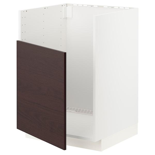 METOD Armario baixo vertedoiro BREDSJÖN, branco Askersund/marrón escuro laminado efecto freixo, 60x60 cm