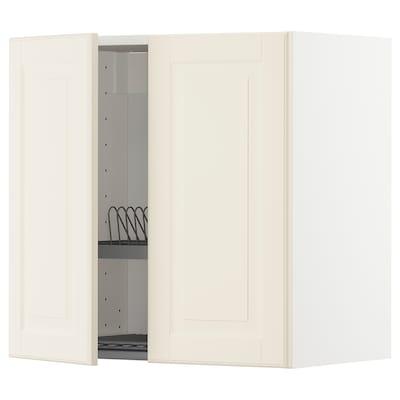 METOD Armario de parede con escorred /2 p, branco/Bodbyn óso, 60x60 cm