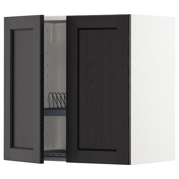 METOD Armario de parede con escorred /2 p, branco/Lerhyttan tintura negra, 60x60 cm
