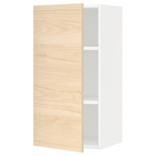 METOD Armario de parede con estantes, branco/Askersund efecto freixo claro, 40x80 cm