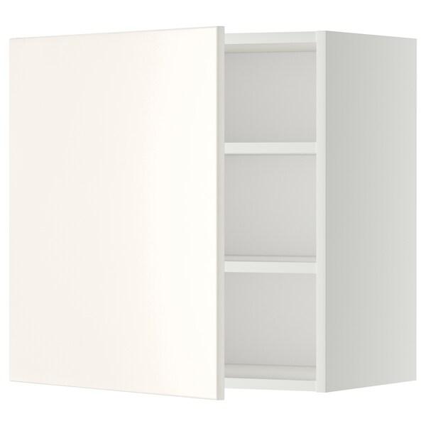 METOD Armario de parede con estantes, branco/Veddinge branco, 60x60 cm