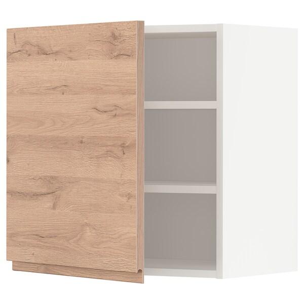 METOD Armario de parede con estantes, branco/Voxtorp efecto carballo, 60x60 cm