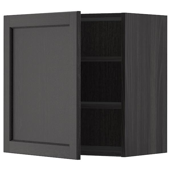 METOD Armario de parede con estantes, negro/Lerhyttan tintura negra, 60x60 cm