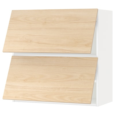 METOD Armario de parede horizontal 2 p, branco/Askersund efecto freixo claro, 80x80 cm