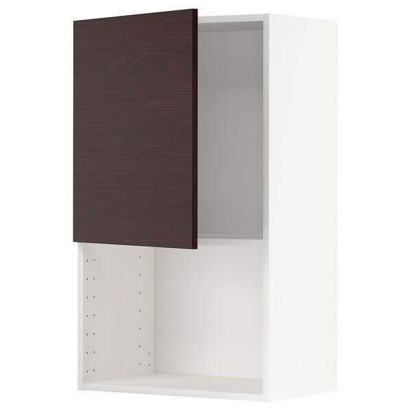 METOD Armario de parede para microondas, branco Askersund/marrón escuro laminado efecto freixo, 60x100 cm