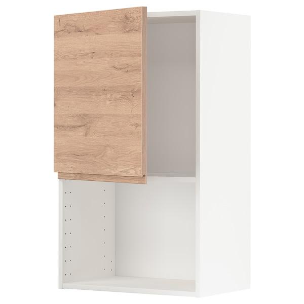 METOD Armario de parede para microondas, branco/Voxtorp efecto carballo, 60x100 cm