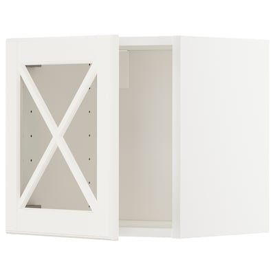 METOD Armario de parede, porta vidro, branco/Bodbyn óso, 40x40 cm
