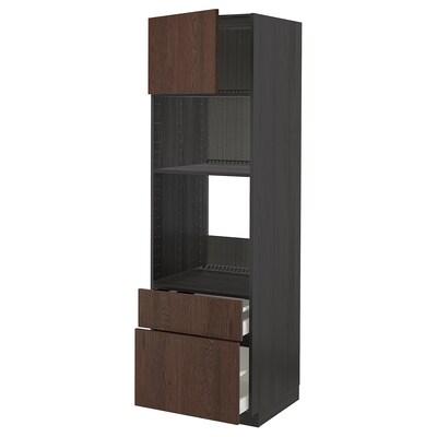 METOD / MAXIMERA Aahorno/ micro+ pt/2 cj, negro/Sinarp marrón, 60x60x200 cm