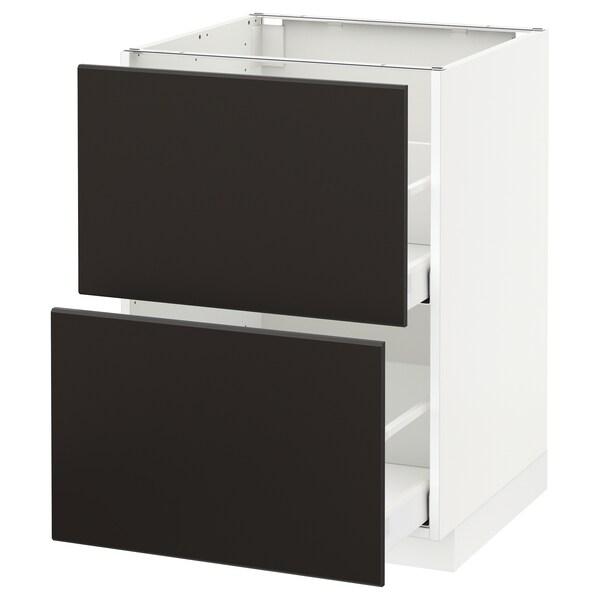 METOD / MAXIMERA Armario baixo cociña 2 caixóns, branco/Kungsbacka antracita, 60x60 cm