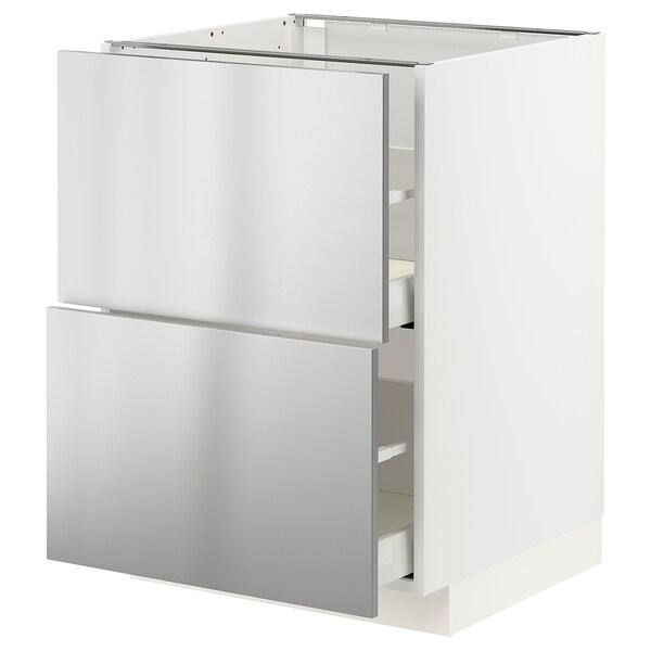METOD / MAXIMERA Armario baixo cociña 2 caixóns, branco/Vårsta ac inox, 60x60 cm