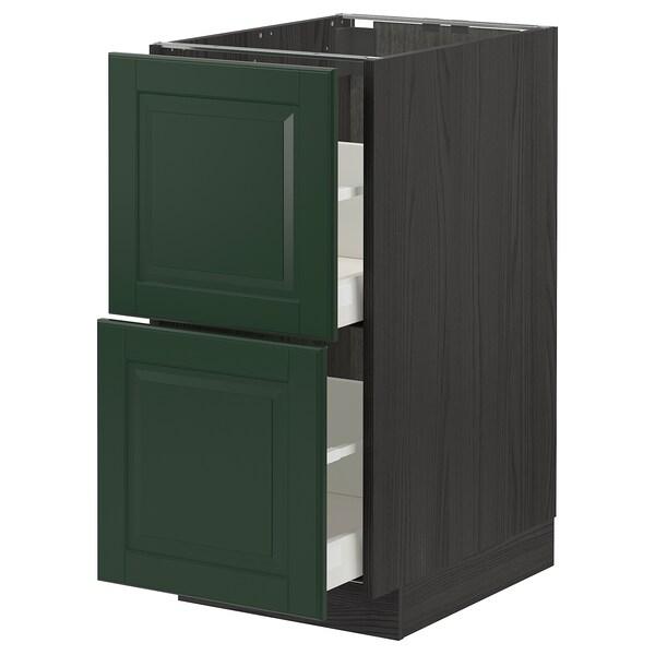 METOD / MAXIMERA Armario baixo cociña 2 caixóns, negro/Bodbyn verde escuro, 40x60 cm