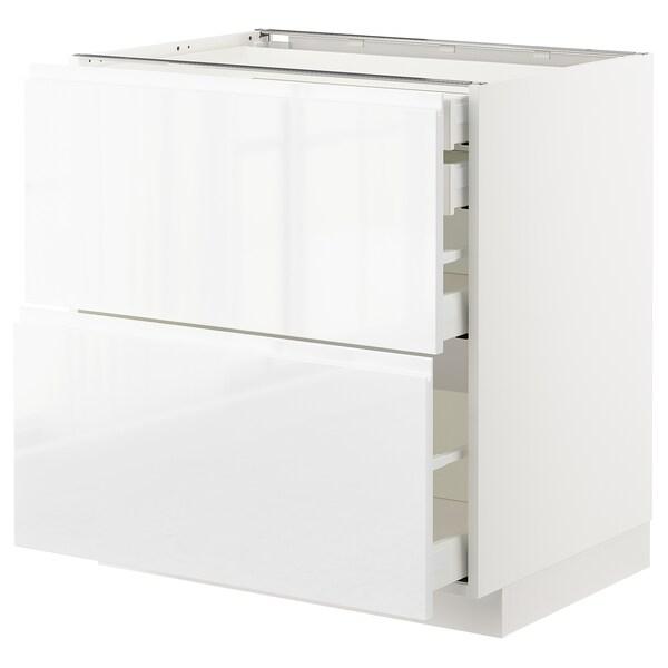 METOD / MAXIMERA Armario baixo cociña 4 caixóns, branco/Voxtorp alto brillo/branco, 80x60 cm