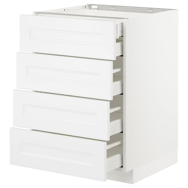 METOD / MAXIMERA Armario baixo cociña 5 caixóns, branco/Axstad branco mate, 60x60 cm