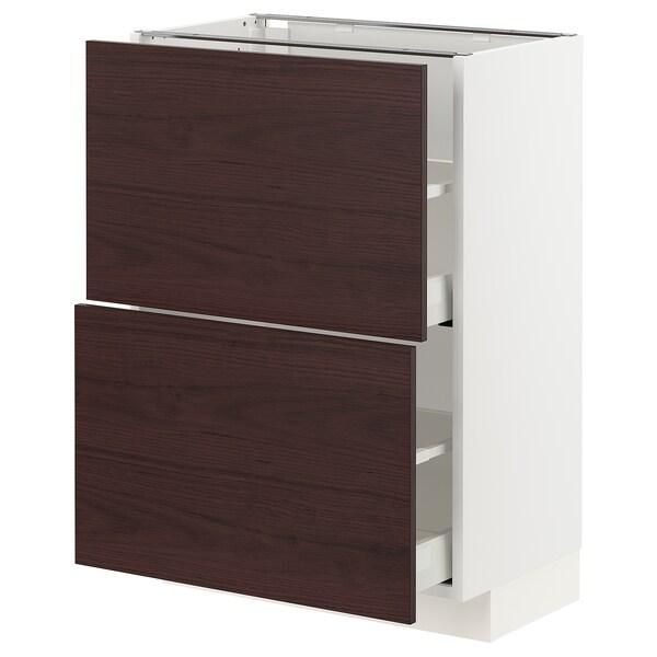 METOD / MAXIMERA Armario baixo cociña con 2 caixóns, branco Askersund/marrón escuro laminado efecto freixo, 60x37 cm