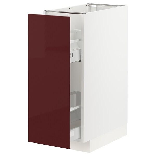 METOD / MAXIMERA Armario baixo cociña extraíble, branco Kallarp/alto brillo marrón avermellado escuro, 30x60 cm