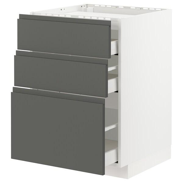 METOD / MAXIMERA Armario baixo para placa 3 caixóns, branco/Voxtorp gris escuro, 60x60 cm