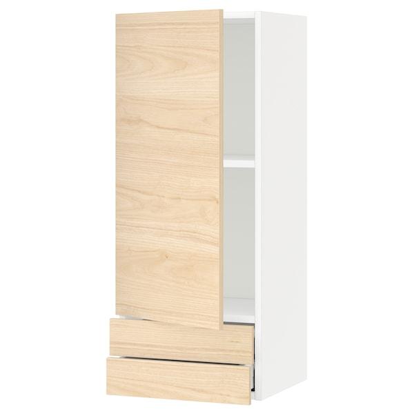 METOD / MAXIMERA Armario de parede con porta/2 caix, branco/Askersund efecto freixo claro, 40x100 cm