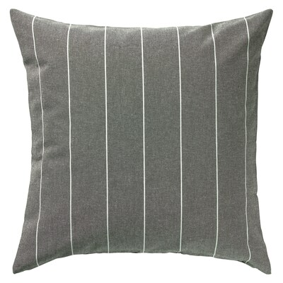 MILDRUN Funda de coxín, gris/raias, 50x50 cm
