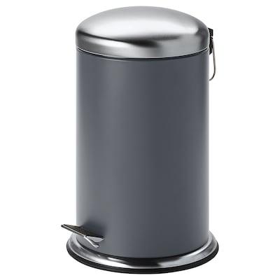 MJÖSA Caldeiro do lixo pedal, gris escuro, 12 l