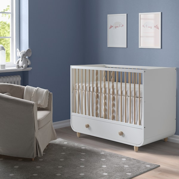 MYLLRA Berce+caixón, branco, 60x120 cm