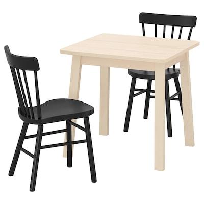NORRÅKER / NORRARYD Mesa e dúas cadeiras, bidueiro/negro, 74x74 cm
