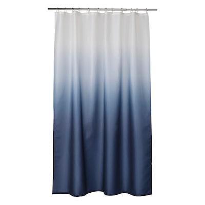 NYCKELN Cortina ducha, branco/azul escuro, 180x200 cm
