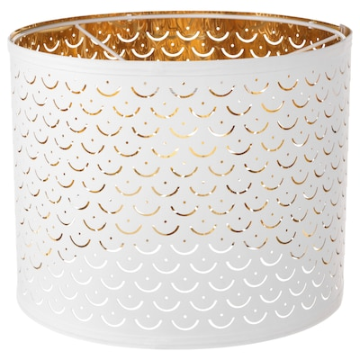 NYMÖ Pantalla para lámpada, branco/cor bronce, 32 cm