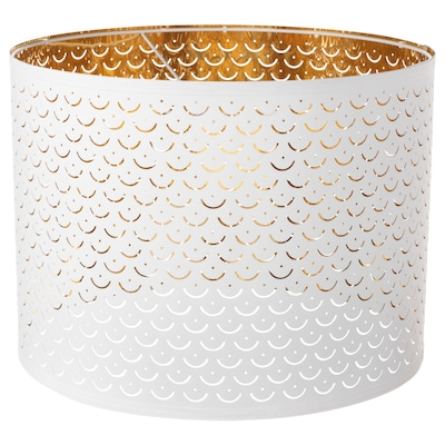 NYMÖ Pantalla para lámpada, branco/cor bronce, 44 cm