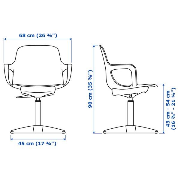 ODGER Cadeira xiratoria, branco/beixe