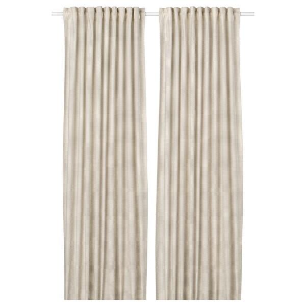 ORDENSFLY Cortina, 1par, branco/beixe, 145x300 cm