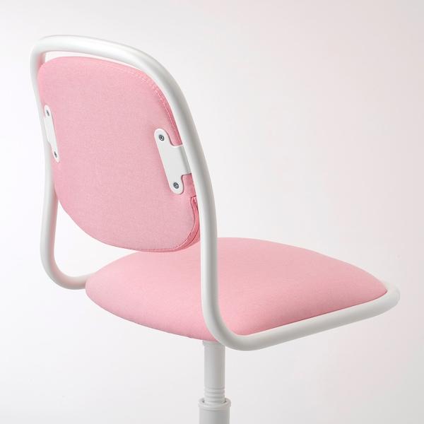 ÖRFJÄLL Cadeira escritorio neno, branco/Vissle rosa