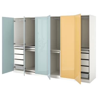 PAX / FARDAL Combinación armario, alto brillo azul agrisado claro/alto brillo amarelo, 300x60x201 cm