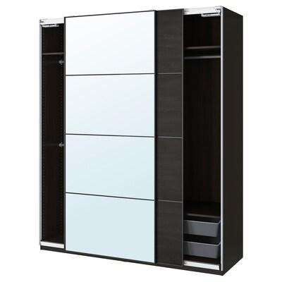 PAX / MEHAMN/AULI Combinación armario, negro-marrón/espello, 200x66x236 cm