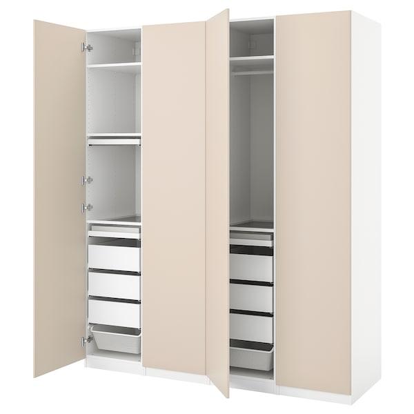 PAX / REINSVOLL Combinación armario, branco/beixe agrisado, 200x60x236 cm