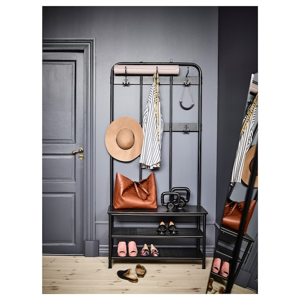 PINNIG Colgadoiro+banco zapateiro, negro, 193 cm