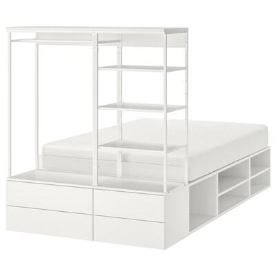 PLATSA Estrutura cama 4 caixóns, branco/Fonnes, 140x244x163 cm