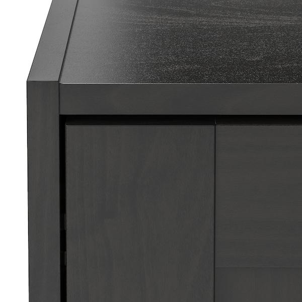 RAKKESTAD Armario con portas corredizas, negro-marrón, 117x176 cm