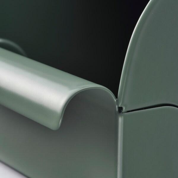 REJSA Caixa, verde agrisado/metal, 9x17x7.5 cm