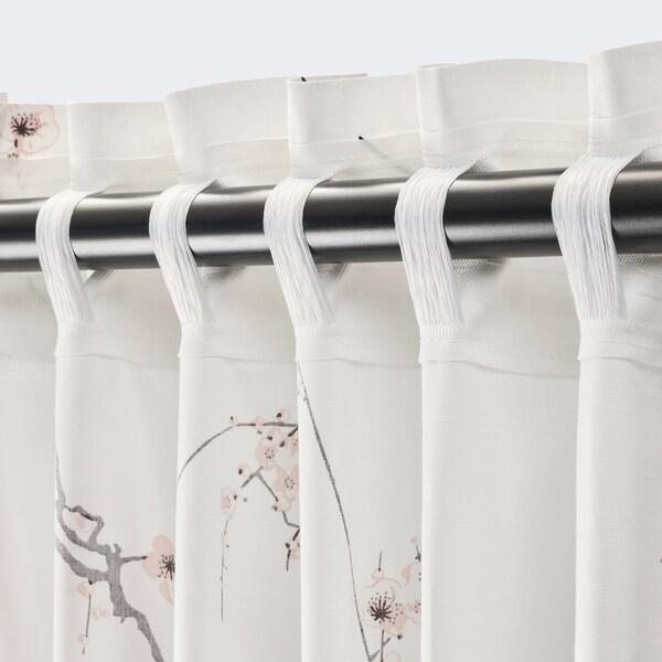 RÖDLÖNN Cortina, 1par, branco/flor, 145x300 cm