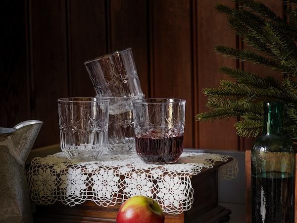 SÄLLSKAPLIG Vaso, vidro incoloro/con deseño, 27 cl