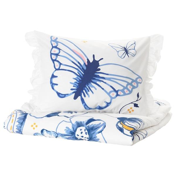 SÅNGLÄRKA Funda nórd e funda para almofada, bolboreta/branco azul, 150x200/50x60 cm
