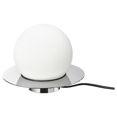 SIMRISHAMN Lámpada de mesa/parede, cromado/branco ópalo vidro, 16 cm