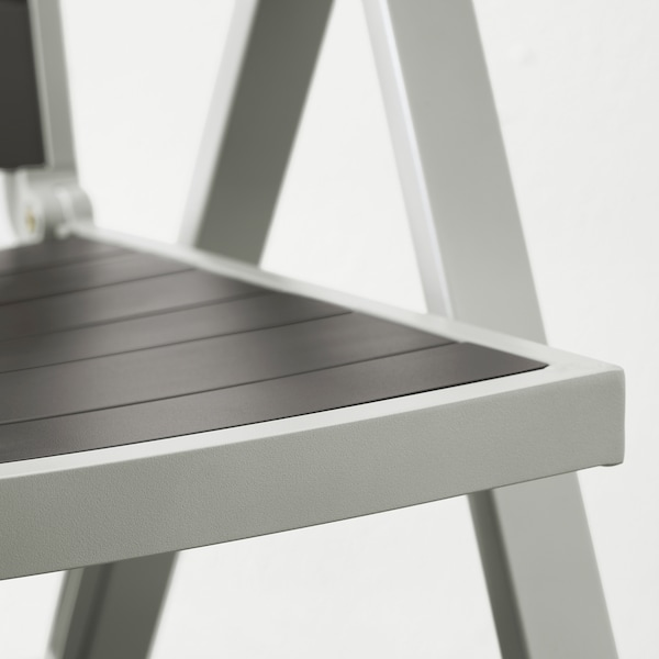SJÄLLAND Cadeira de xardín reclinábel, gris claro pregable/gris escuro