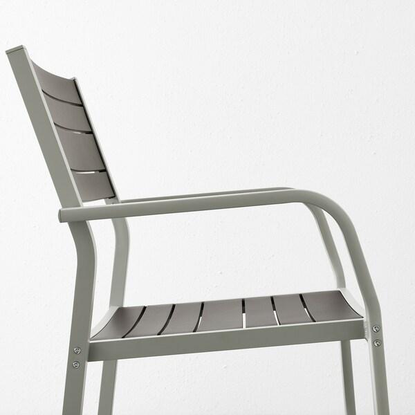 SJÄLLAND Mesa+2cad repousabrz ext, gris escuro/gris claro, 71x71x73 cm