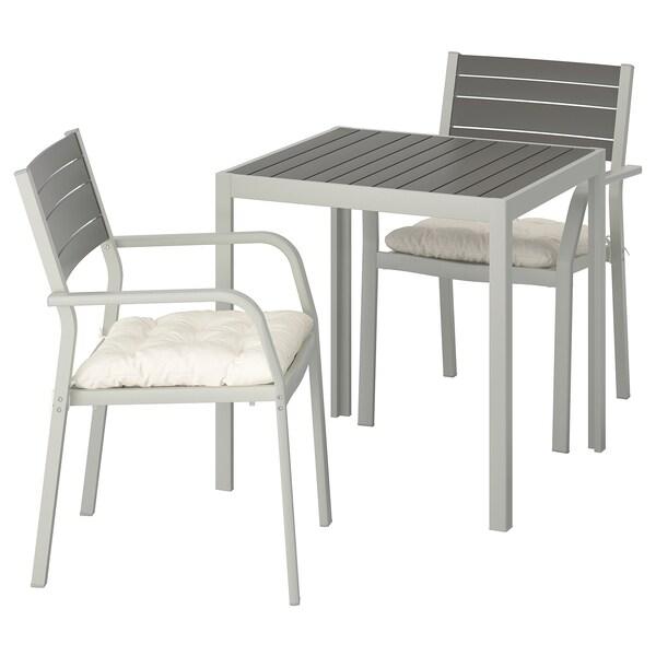 SJÄLLAND Mesa+2cad repousabrz ext, gris escuro/Kuddarna beixe, 71x71x73 cm