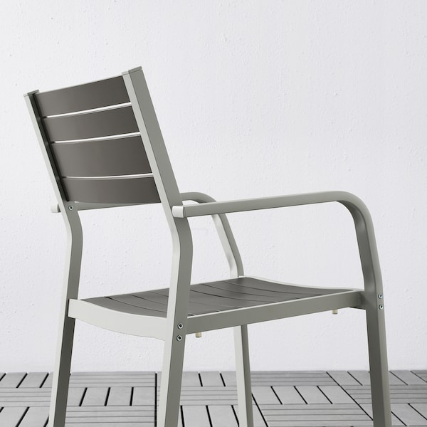 SJÄLLAND Mesa+2cad repousabrz ext, gris escuro/Kuddarna gris, 71x71x73 cm