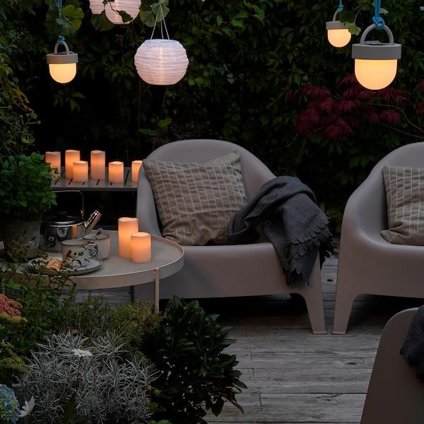 SKARPÖ Cadeira de brazos de xardín, beixe escuro