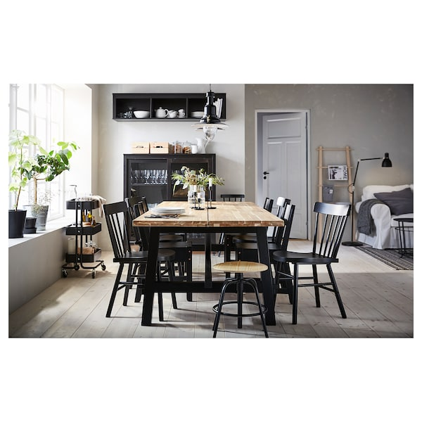 SKOGSTA / NORRARYD Mesa e 6 cads, acacia/negro, 235x100 cm