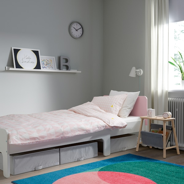 SLÄKT Estrut cama extens+somier láminas, branco/rosa claro, 80x200 cm