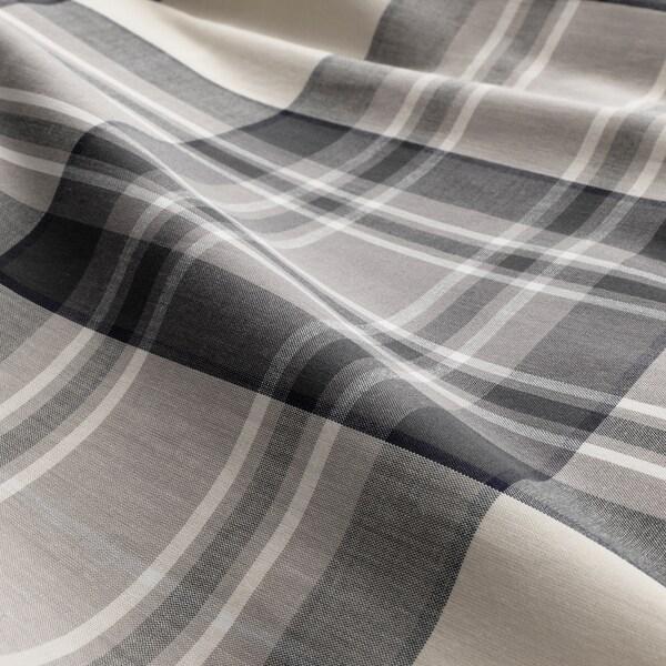 SMALRUTA Funda nórd e funda para almofada, gris/a cadros, 150x200/50x60 cm